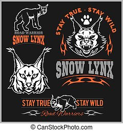 Vector lynx head, face for retro logos, emblems, badges, labels template and t-shirt vintage design element.
