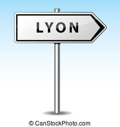 Vector lyon directional sign - Vector illustration of lyon...