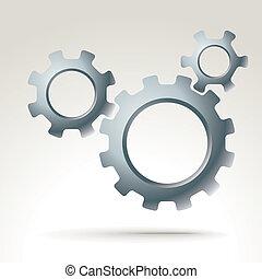 vector, máquina, engranajes