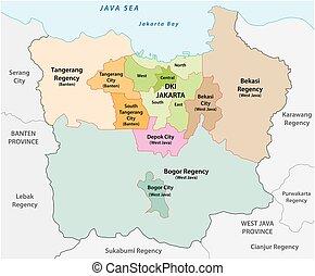 vector, más, administrativo, yakarta, área metropolitana, ...