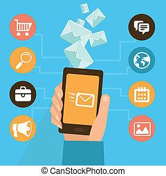vector, móvil, app, -, eamil, mercadotecnia, y, promoción