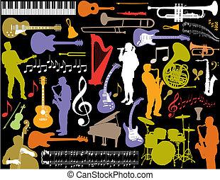 vector, música, elements.