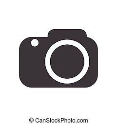 vector., macchina fotografica, fondo, bianco, icona