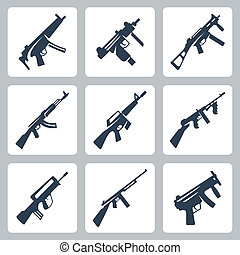 Vector machine guns and assault rifles icons set
