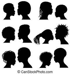 vector, macho, afro, diseño, silhouettes., norteamericano, cara femenina, retratos, africano, pareja, romántico, boda