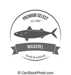 Vector mackerel, scomber emblem, label. Template for stores, markets, food packaging. Seafood illustration.
