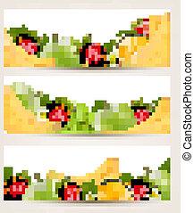 vector., maduro, fruit., três, gostosa, bandeiras
