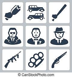 vector, maffia, set, vrijstaand, iconen