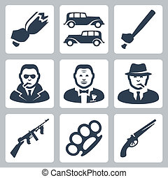 vector, mafia, conjunto, aislado, iconos