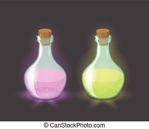 Vector magic bottles with pink and green drinks