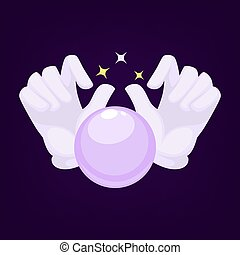 Vector magic crystal ball and illusionist hands