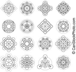 Magic geometry signs collection. Vector runes or alchemy mystical symbols
