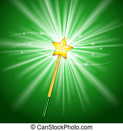 Magic Wand - Vector Magic Wand icon with stars on green