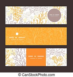 Vector magical floral horizontal banners set pattern background