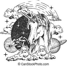 Vector magical unicorn tattoo or t-shirt print design