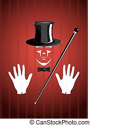 Vector magician on red glamour background