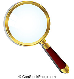 Golden magnifying glass over white background