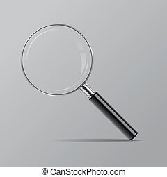Vector magnifier isolated on grey background.