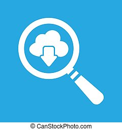 vector magnifying glass cloud computing download icon on a blue