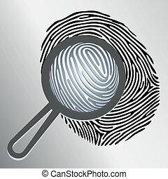 Vector magnifying glass examining fingerprint isolated