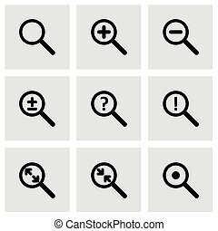 Vector magnifying glass icon set on grey background