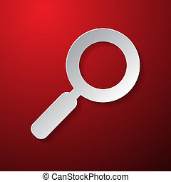 Vector Magnifying Glass Paper Symbol on Red Background