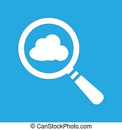 vector magnifying glass with cloud icon on a blue background