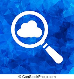 vector magnifying glass with cloud icon on a blue triangular pol