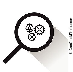 vector magnifying glass with Gear icon