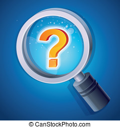 Vector magnifying glass with question mark