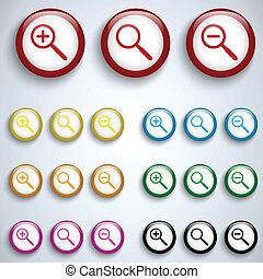 Vector - Magnifying Lens Button Set Icon Vector