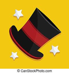 vector, mago, sombrero, icono