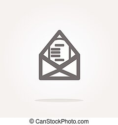 vector mail envelope icon web button isolated on white