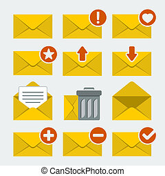 Vector mail icons set in flat style