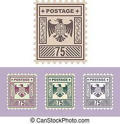 Vector Mail Stamp with Eagle Badge