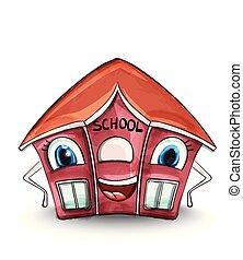 vector., maison, école, dessin animé, caractères, illustration., rouges, bâtiments