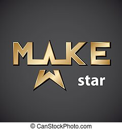 vector make golden star inscription icon