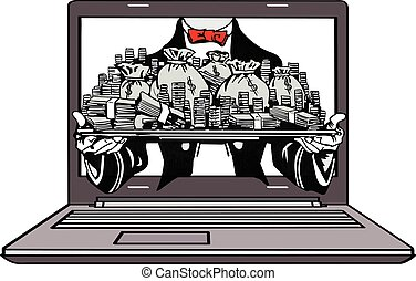 Vector - make money online - Vector sketch illustration