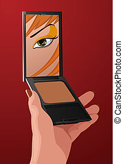 Vector make-up illustration - Vector girl with fashion...