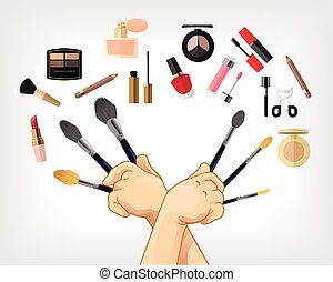 Vector makeup flat illustration