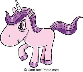 vector, mal, unicornio