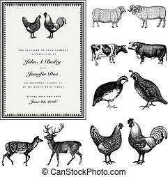 Easy to edit! Clipart vintage wedding invite with male and female animals. Great for invitations and announcements. Vector file is an EPS 10 file. Vector editing features are only available with the EPS file. Watermarks are removed from the image you get after purchasing.