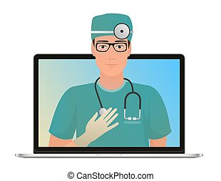 Vector Male Doctor with online medical consultation concept, Healthcare services. Ask a doctor online by laptop computer.