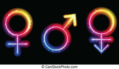 Vector - Male, Female and Transgender Gender Symbols Laser Neon