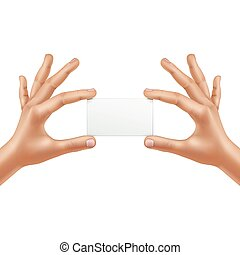 Vector Male Hands Holding Blank Card Isolated