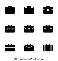 vector, maletín, icono, conjunto