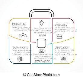 vector, maletín, lineal, infographic., plantilla, para,...