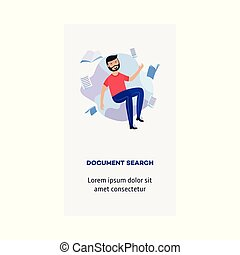 Vector man and information document search concept