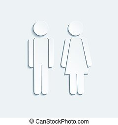 Vector man and woman icons for toilet or restroom sign