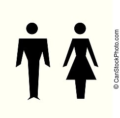 Vector man and woman icons, toilet sign